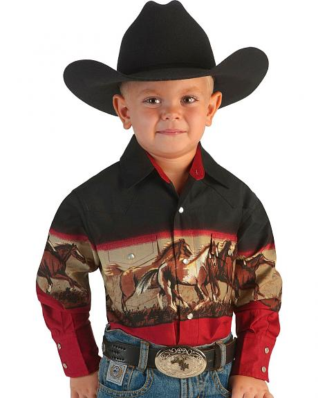 Cumberland Outfitters Boys' Burgundy & Black Horse Border Western Shirt - 6-16