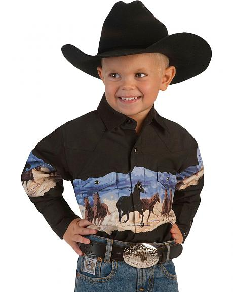 Cumberland Outfitters Boys' Black & Tan Horse Border Western Shirt - 6-16