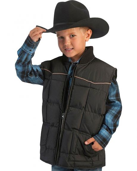 Ely Boys' Quilted Vest w/ Piped Yokes - 5-16