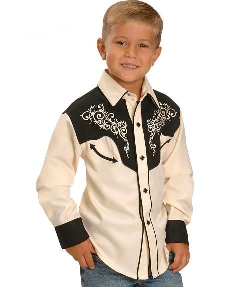 Red Ranch Boys' Embroidered Yoke Western Shirt t - 5-16