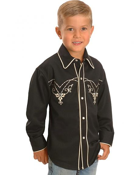 Boys' Floral Embroidered Yoke Retro Western Shirt - 5-16