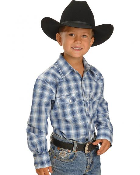 Red Ranch Boys' Blue Plaid Topstitched Western Shirt - 5-16