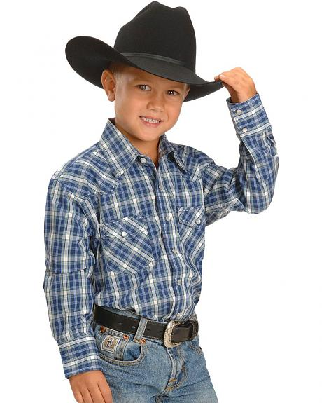 Red Ranch Boys' Navy Plaid Embroidered Western Shirt - 5-16