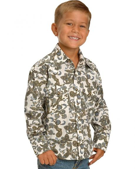 Red Ranch Boys' Olive Paisley Western Shirt - 5 - 16