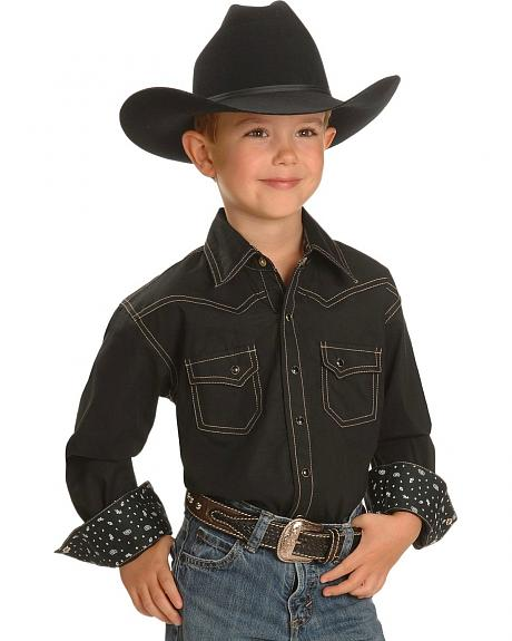 Red Ranch Boys' Black Topstitched Western Shirt - 5-16