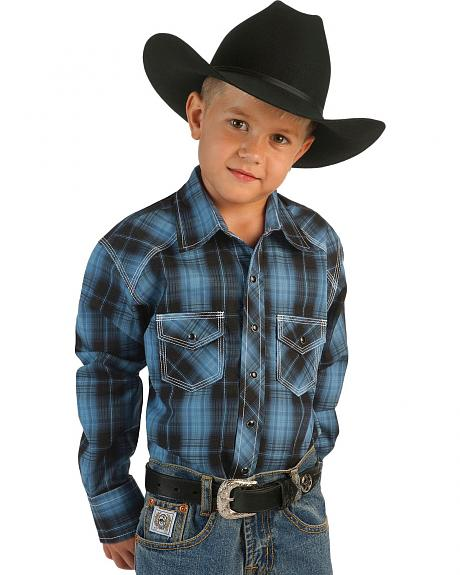 Red Ranch Boys' Blue Plaid Western Shirt - 5-16