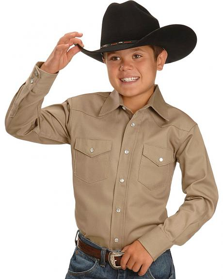 Exclusive Gibson Trading Co. Boys' Solid Khaki Western Shirt 5-16