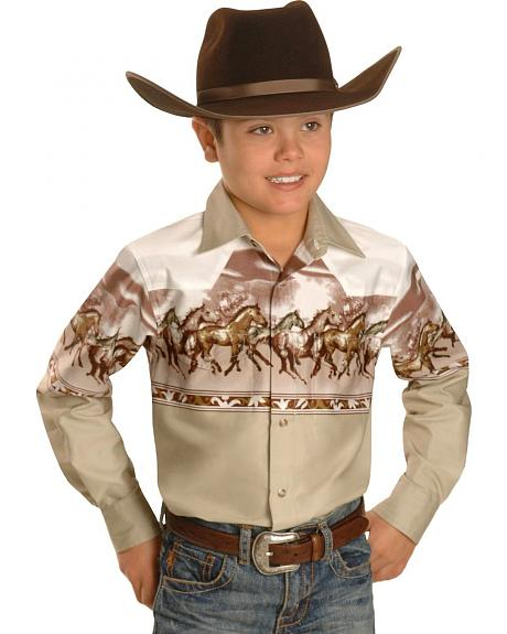 Red Ranch Boys' Khaki Horse Border Western Shirt - 5-16
