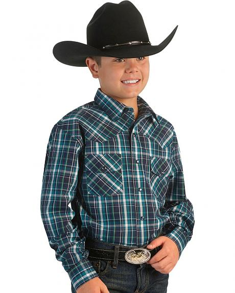 Cinch �  Boys' Navy & Teal Snap Plaid Western Shirt - 5-16