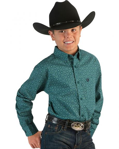 Cinch �  Boys' Teal Round Wallpaper Print Shirt - 5-16
