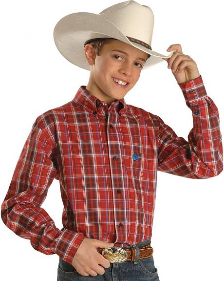 Boys' Cinch® Logo Red Plaid Long Sleeve Shirt
