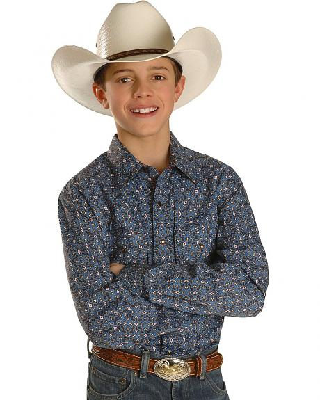 Boys' Cinch® Blue Foulard Print Long Sleeve Western Shirt