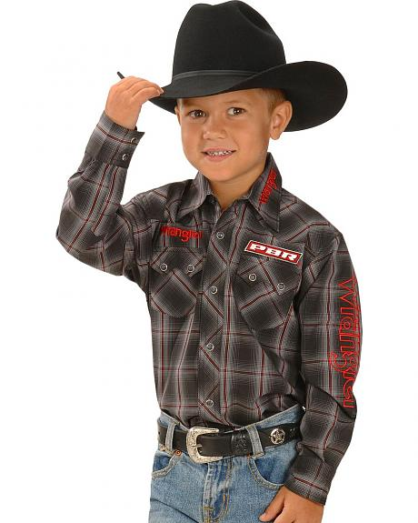 Wrangler Boys' PBR Logo Plaid Western Rodeo Shirt - 5-16
