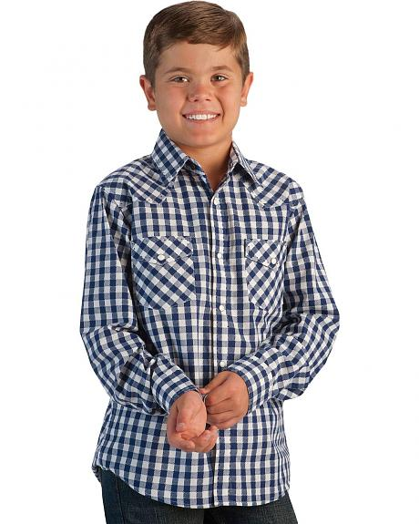 Red Ranch Boys' Navy & White Check Saddle Stitch Western Shirt - 5-16