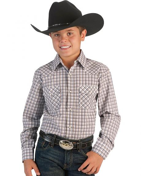 Red Ranch Boys' Navy & Khaki Snap Western Shirt - 5-16