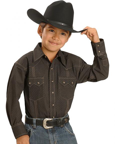 Red Ranch Boys' Khaki & Black Diamond Snap Western Shirt - 5-16