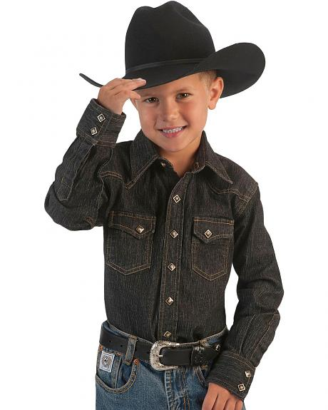 Red Ranch Boys' Solid Denim Western Shirt - 2-16