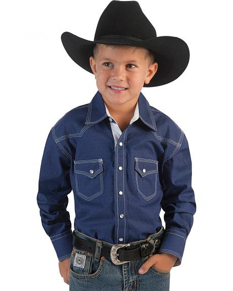 Red Ranch Boys' Navy Dobby Topstitched Western Shirt - 5-16