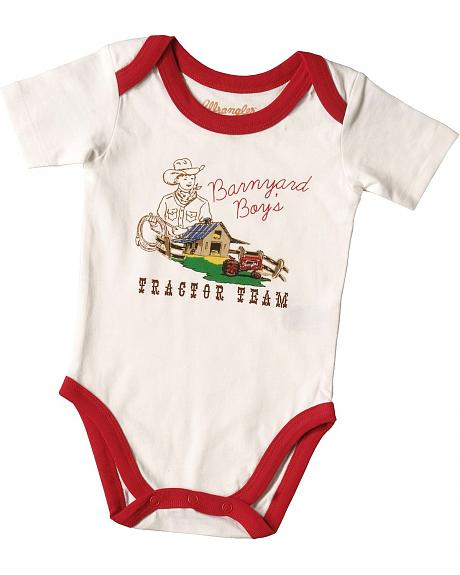 Wrangler Infant Boys' Barnyard Boy's Tractor Team Bodysuit - 6M-18M