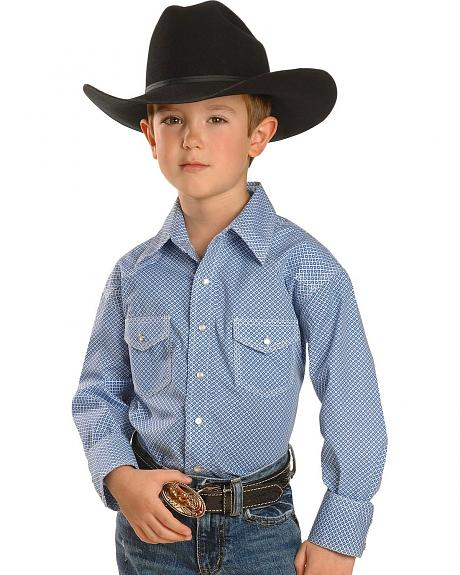 Red Ranch Boys' Blue Print withTriple Saddle Stitching Western Shirt - 2-16