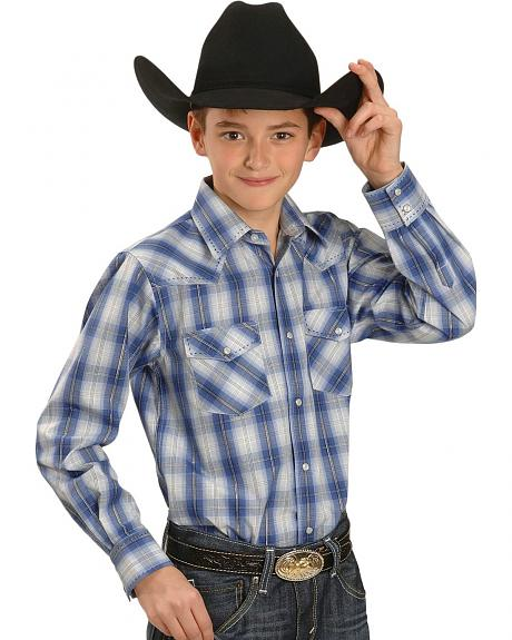 Red Ranch Boys' Blue Plaid with Contrasting Stitching Western Shirt 5-16