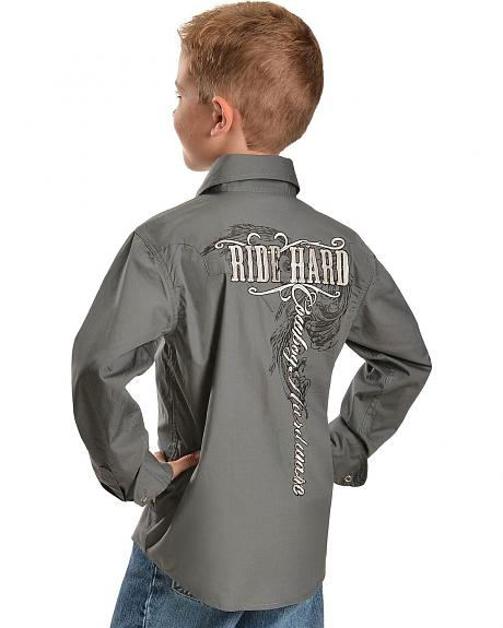 Cowboy Hardware Boys' Ride Hard Embroidered Long Sleeve Western Shirt