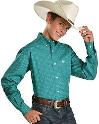 Cinch� Boys' Teal Pattern Long Sleeve Shirt - 6-14 at Sheplers
