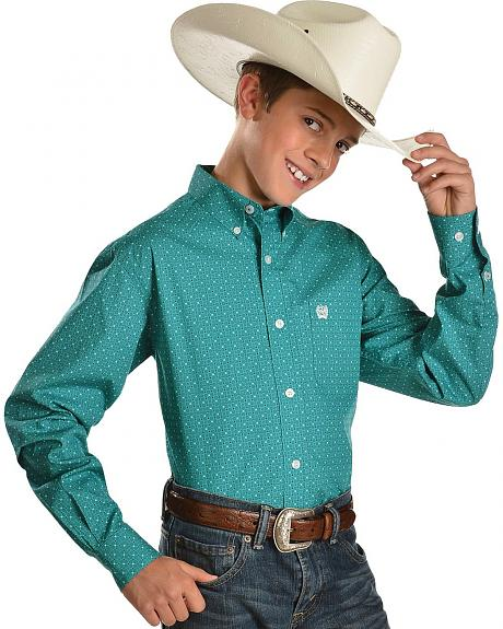 Cinch� Boys' Teal Pattern Long Sleeve Shirt - 6-14