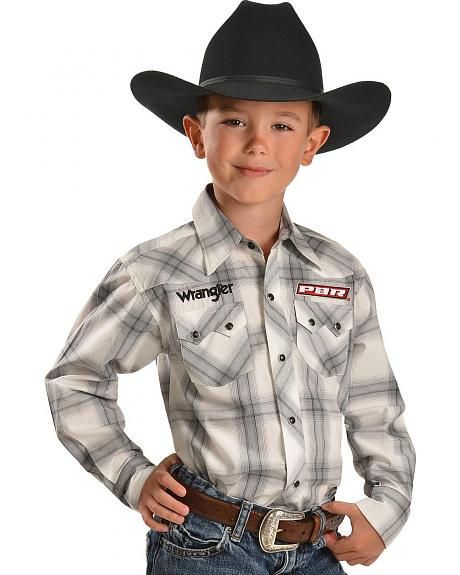 Wrangler Boys' PBR Logo Plaid Western Shirt - 5-16