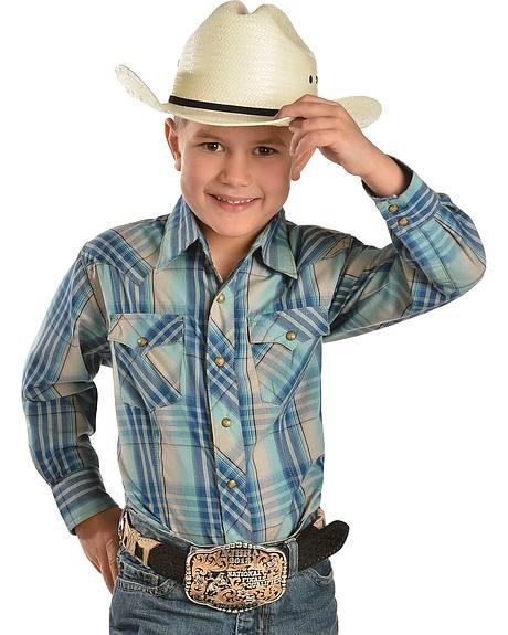 Wrangler Retro Boys' Vintage Plaid Long Sleeve Shirt - 5-16