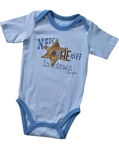 "Wrangler Infant Boys ""New Sheriff In Town"" Bodysuit 6M-18M Western & Country PQK151B"