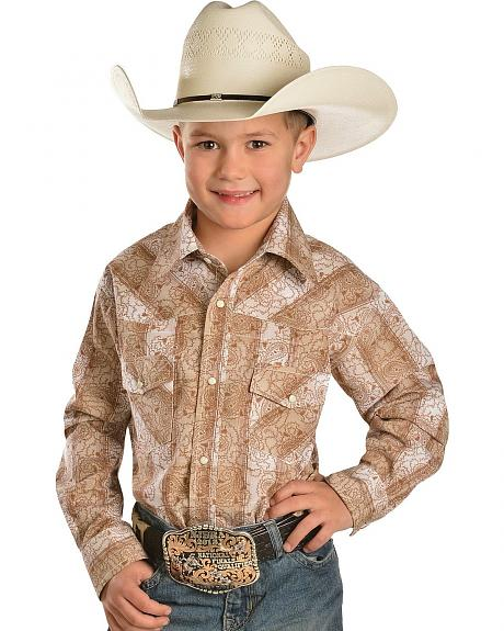 Red Ranch Boys' Paisley Striped Western Shirt - 6-20