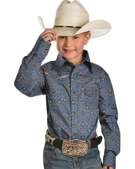 Red Ranch Boys' Rope Embroidered Yokes Western Shirt - 6-20