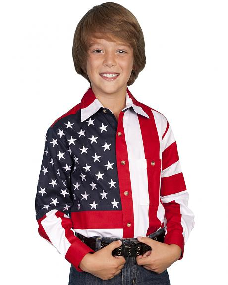 Scully Boys' American Flag Shirt