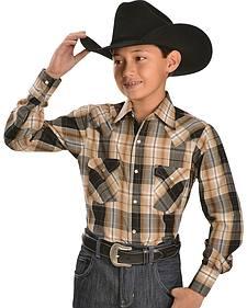Ely Boys' Plaid Lurex Western Shirt - 2-16