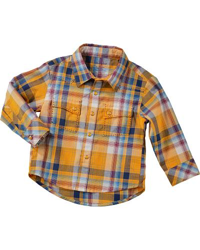 Wrangler Long Sleeve Boys Yellow Plaid Shirt Western & Country PQ3423Y