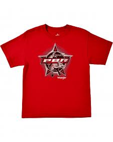 Wrangler Boys' PBR Short Sleeve Red Screenprinted T-Shirt
