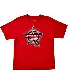 Wrangler Boys' PBR Short Sleeve Red Screenprinted T-Shirt