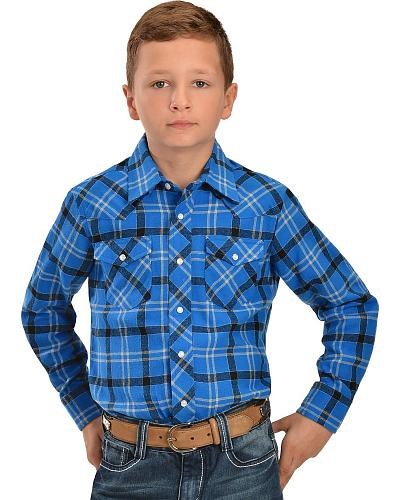 Wrangler Boys Assorted Plaid Flannel Western Shirts Western & Country BW140AA