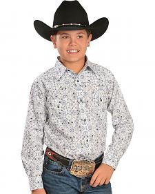 Red Ranch Boys' Pinwheel Print Western Shirt