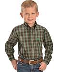 Cinch® Boys' Brown and Green Plaid Shirt