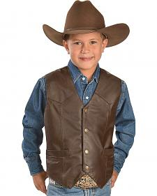 Red Ranch Boys' Leather Vest