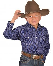 Red Ranch Boys' Blue Paisley Western Shirt - 6-20