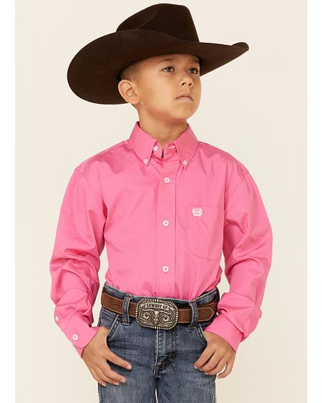 Cinch ® Boys' Hot Pink Long Sleeve Shirt