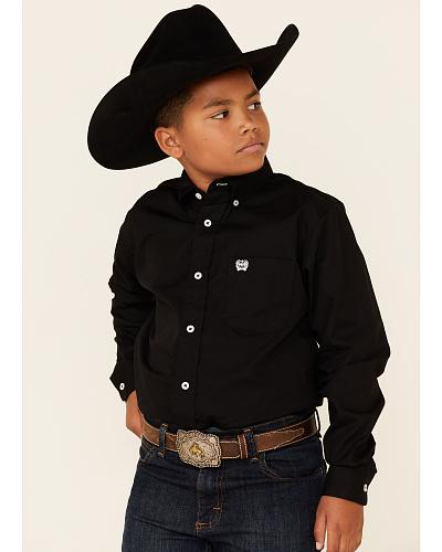 Cinch  Boys Black Long Sleeve Shirt Western & Country MTW7060027 BLK