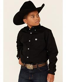Cinch � Boys' Black Long Sleeve Shirt