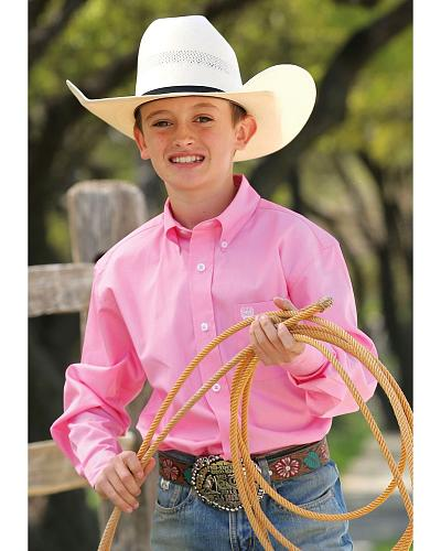 Cinch  Boys Light Pink Long Sleeve Shirt Western & Country MTW7060084 PNK