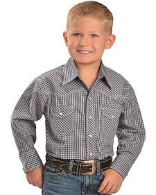 Red Ranch Boys' Grey Plaid Western Shirt - 6-20
