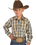 Red Ranch Boys' Blue & Brown Plaid Shirt