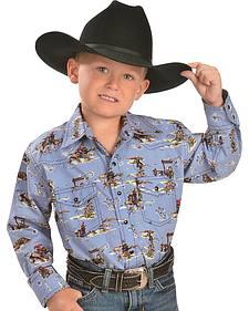Red Ranch Boys' Western Print Western Shirt - 6-20